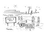 School of Music' with a cannon in the courtyard and a sign reading 'Notice… - Cartoon Premium Giclee Print by Harley L. Schwadron