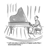 """I will now play a selection of digital audio files I downloaded today."" - Cartoon Premium Giclee Print by Aaron Bacall"