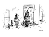 teachers' supply room is guarded by armed soldier - Cartoon Premium Giclee Print by David Sipress