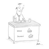 [man's desk has on its front:  Brain  - Cartoon Premium Giclee Print by Mary Lawton