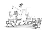 Chair backs on a movie set reads, 'Producer,''Director,' and various 'Hang… - New Yorker Cartoon Premium Giclee Print by Dana Fradon