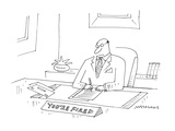 executive at desk with nameplate that says 'You're Fired' - Cartoon Premium Giclee Print by Mick Stevens