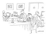 restaurant patrons' menus are laptop computers - Cartoon Premium Giclee Print by Mick Stevens