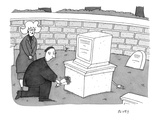 grieving couple brings flowers to a grave marked by a computer-shaped head… - Cartoon Premium Giclee Print by Peter C. Vey