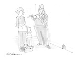 Exterminator with toolbox playing flute waiting for mice to appear as moth… - Cartoon Premium Giclee Print by Bernard Schoenbaum