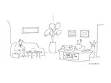 At a desk where the secretary is sitting there is a sign that reads 'WARNI… - Cartoon Premium Giclee Print by Liza Donnelly