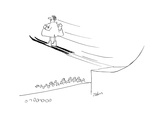 Flasher in raincoat on skis exposing himself to crowd while jumping from s… - Cartoon Premium Giclee Print by Bob Zahn