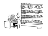 Behind a woman working at a computer is a bookshelf full of manuals; each … - Cartoon Premium Giclee Print by Ted Goff