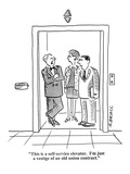 """""""This is a self-service elevator. I'm just a vestige of an old union contr…"""" - Cartoon Premium Giclee Print by Aaron Bacall"""