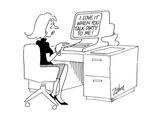 Computer screen to secretary. - Cartoon Premium Giclee Print by Bob Zahn