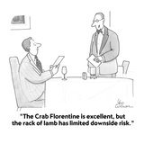 """""""The Crab Florentine is excellent, but the rack of lamb has limited downsi…"""" - Cartoon Premium Giclee Print by Leo Cullum"""