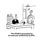 &quot;The X9400 is guaranteed to increase your productivity by 89%.&quot; - Cartoon Premium Giclee Print by Ted Goff