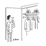 Man standing in front of closet deciding whether to wear 'Apple' or 'Micro… - Cartoon Premium Giclee Print by Aaron Bacall