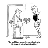 """""""I'd feel like a hypocrite contributing to his farewell gift after firing …"""" - Cartoon Premium Giclee Print by Bob Zahn"""