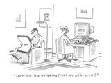 """How did the internet get my bra-size?"" - Cartoon Premium Giclee Print by Mick Stevens"