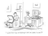 """How did the internet get my bra-size?"" - Cartoon Premium Giclee Print by Mick Stevens"
