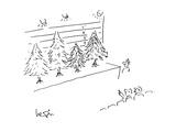 Chrismas tree line-up - Cartoon Premium Giclee Print by Arnie Levin