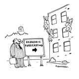 Economists jumping from building with sign in front that reads; 'Economic … - Cartoon Premium Giclee Print by Harley L. Schwadron