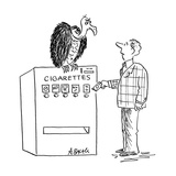 Man about to put money in cigarette machine with vulture perched on top. - Cartoon Premium Giclee Print by Aaron Bacall