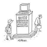 Computer monument, with words, Educator, Advisor, Communicator, Publisher,… - Cartoon Premium Giclee Print by Aaron Bacall