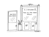 one door says 'Bob Figly, Idea Person', the other, larger door says 'R. J.… - Cartoon Premium Giclee Print by Harley L. Schwadron