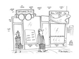 man walks past an optometrist's office with a large pair of glasses hangin… - Cartoon Premium Giclee Print by Harley L. Schwadron
