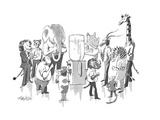 A variety of wild animals in business clothes stand around an office water… - New Yorker Cartoon Premium Giclee Print by Mischa Richter