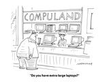 """""""Do you have extra-large laptops?"""" - Cartoon Premium Giclee Print by Mick Stevens"""