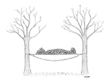 Hammock stretched between two autumnal, leafless tress has man's shape lyi… - New Yorker Cartoon Premium Giclee Print by Robert Mankoff