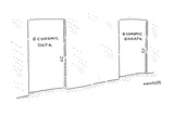 """two doors, one labeled """"Economic Data"""" and the other labeled """"Economic Err…"""" - Cartoon Premium Giclee Print by Robert Mankoff"""