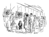 Patrons at a art gallery cocktail party include one of the artists who is … - New Yorker Cartoon Premium Giclee Print by Alan Dunn