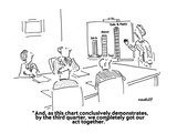 """And, as this chart conclusively demonstrates, by the third quarter, we co…"" - Cartoon Premium Giclee Print by Robert Mankoff"
