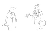 Businessman with briefcase, begging on street with upturned hat, wears sig… - Cartoon Premium Giclee Print by Arnie Levin
