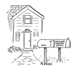 Two mail boxes in front of house.  One says 'Mail' the other says 'Softwar… - Cartoon Premium Giclee Print by Aaron Bacall