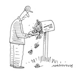 man opens mailbox and snails fall out — 'snail mail' - Cartoon Premium Giclee Print by Mick Stevens