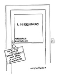 Sign on door to office of a marriage counselor reads: 'Out to Lunch. Share… - New Yorker Cartoon Premium Giclee Print by Richard McCallister