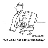"""""""Oh God, I had a lot of fun today."""" - Cartoon Premium Giclee Print by Charles Barsotti"""