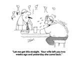 """""""Let me get this straight.  Your wife left you two weeks ago and yesterday…"""" - Cartoon Premium Giclee Print by Bob Zahn"""