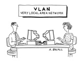 Sign above computer workstations reads: 'VLAN Very Local Area Network' - Cartoon Premium Giclee Print by Aaron Bacall
