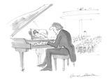 Musician at piano looking at  centerfold instead of sheet music. - Cartoon Premium Giclee Print by Bernard Schoenbaum