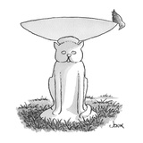 bird at edge of bird bath looks down at pedestal which is cat-shaped - Cartoon Premium Giclee Print by John Jonik