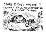 Charlie Rose and His Guest Fall Asleep during a Recent Taping: - Cartoon Premium Giclee Print by David Sipress