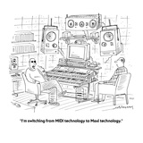 """I'm switching from MIDI technology to Maxi technology."" - Cartoon Premium Giclee Print by Mick Stevens"