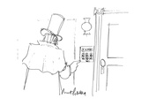19th century-looking guy goes to ring the doorbell of 'E.A. Poe'. There ar… - Cartoon Premium Giclee Print by Mort Gerberg