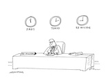 Clocks on wall behind businessman Ed Wilson's desk show the different time… - Cartoon Premium Giclee Print by Mick Stevens