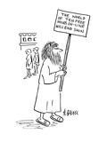 Man with sign reading; 'The World of Ten Free Hours On-Line Will End Soon.' - Cartoon Premium Giclee Print by Aaron Bacall