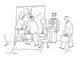 Man standing outside office building with sign that says; 'Will whistle wh… - Cartoon Premium Giclee Print by Peter C. Vey