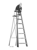 Dejected man setting on top rung of a ladder; the steps beginning at the b… - New Yorker Cartoon Premium Giclee Print by Dana Fradon