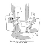 """I'm sorry, dear, I must have lost consciousness.  What are you saying?"" - New Yorker Cartoon Premium Giclee Print by Chon Day"
