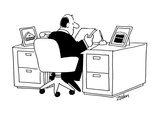 Exec at desk.  Pictures of cake, pie, etc. on desk. - Cartoon Premium Giclee Print by Bob Zahn